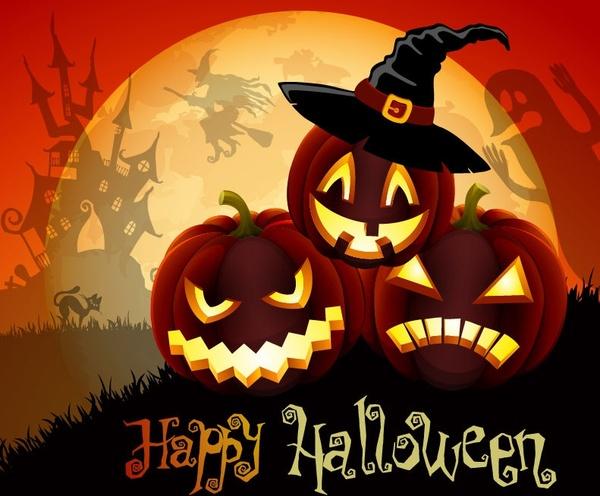 halloween banner horror pumpkin calligraphy ghost moonlight decoration