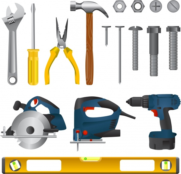 machine tools icons shiny colored modern design