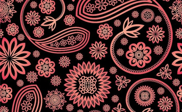 floral background damask pattern style dark red design free vector