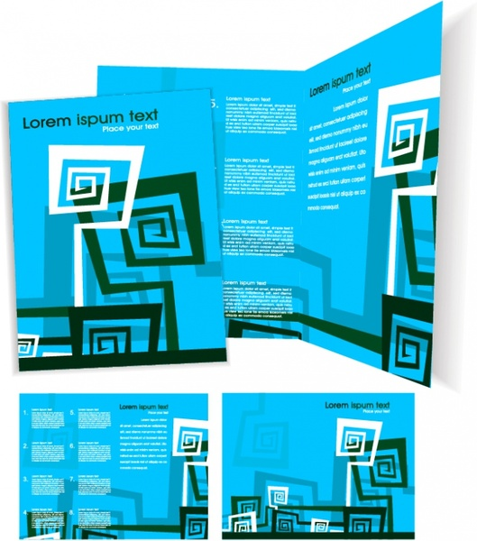 brochure templates modern abstract decor blue design