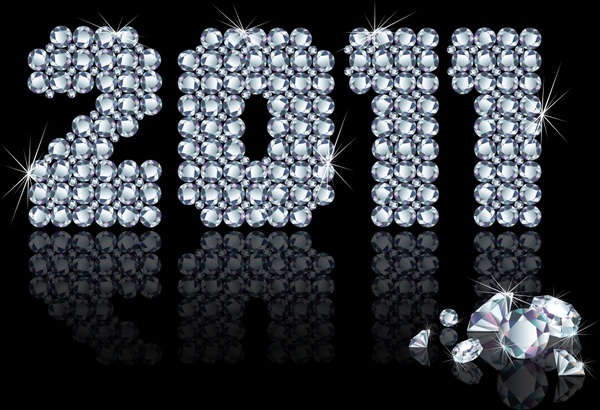 2011 new year template luxury diamond gems decor