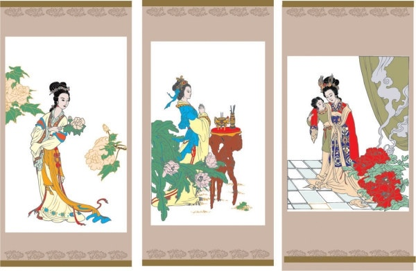 vector diao chan worship the drunken beauty ladies flowers vector figure