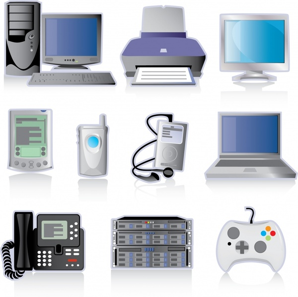 electronic devices icons modern 3d design