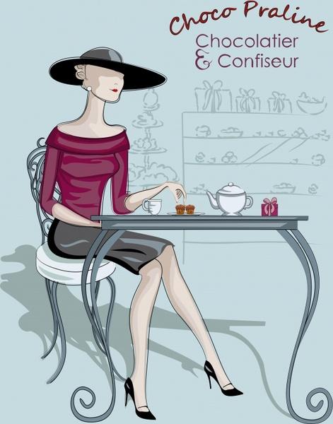 fashion advertising banner elegant woman icon cartoon sketch