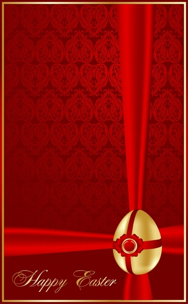 easter banner decorated egg sketch shiny red golden