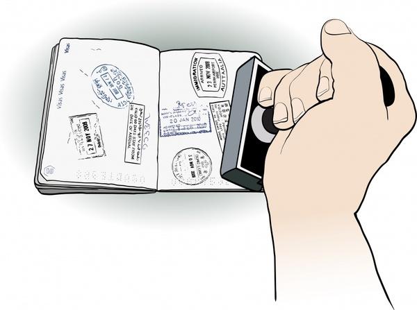 passport sealing background 3d handdrawn sketch