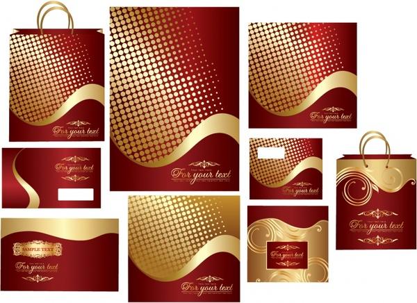 decorative pattern templates red golden design elegant curves