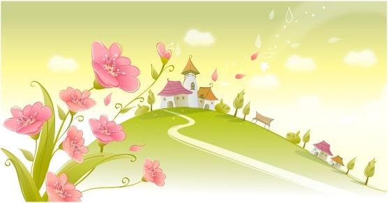 spring scene background blooming flowers houses hill icons
