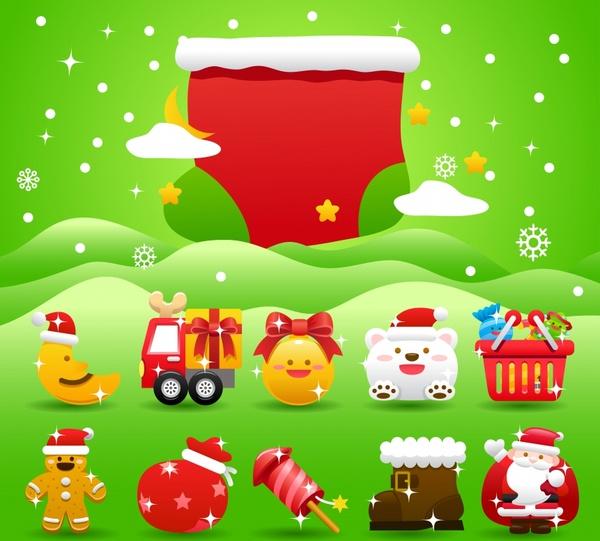 vector festive christmas socks