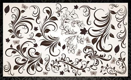 floral design elements vintage curves style