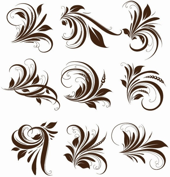 vector floral elements for design free vector in encapsulated