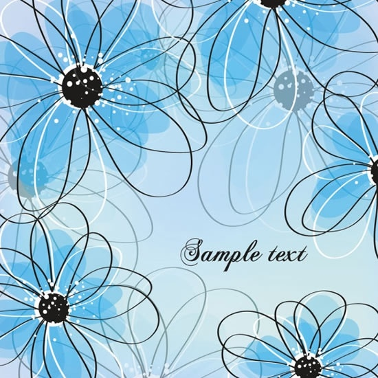 floral pattern template bright blurred flat sketch