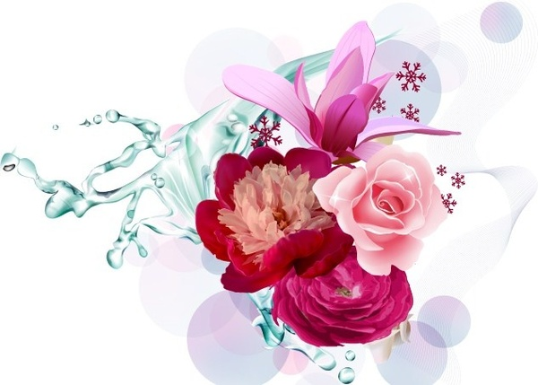 water flowers bunch background realistic colorful design style