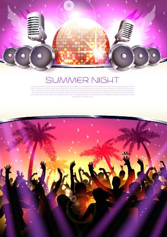 vector flyer summer night party design