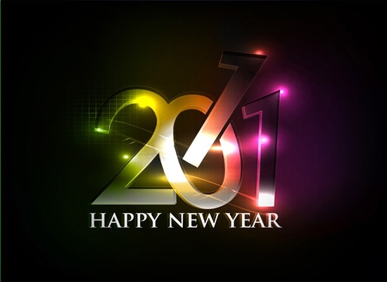 2011 new year banner sparkling modern numbers lights
