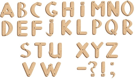 Vector Fonts Wood Grain English