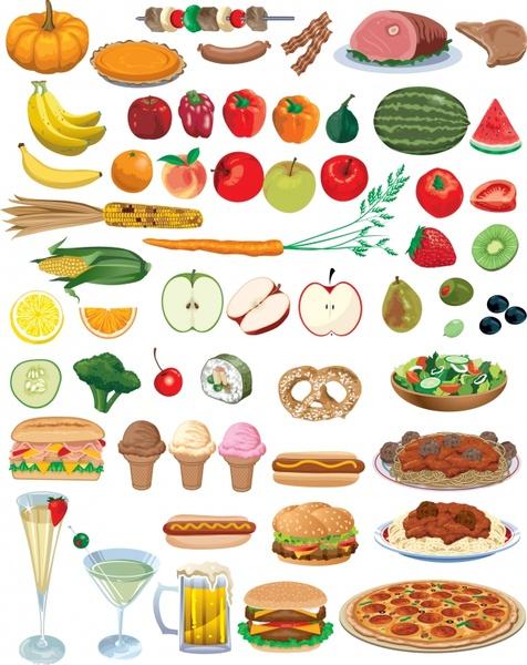 nutrition background food vegetables icons colored modern design