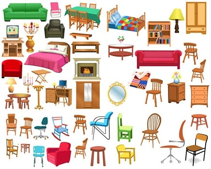 furnitures icons collection various types colored design style
