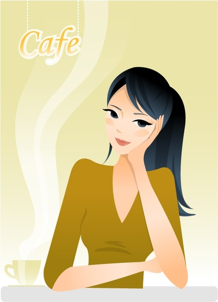 cafe advertising background relaxed woman icon cartoon character
