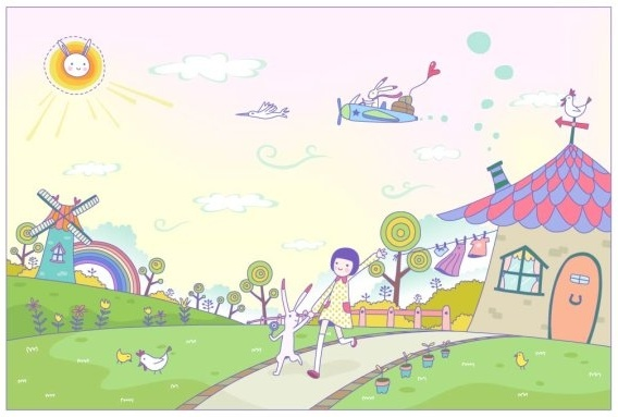 Vector Girl Happy Life Free Vector In Adobe Illustrator Ai Ai