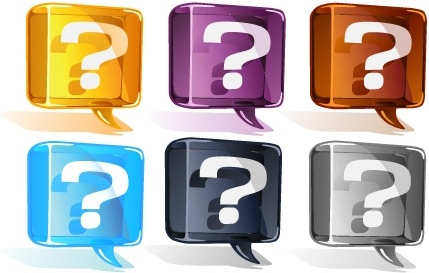 question icons collection colorful shiny speech baubles style