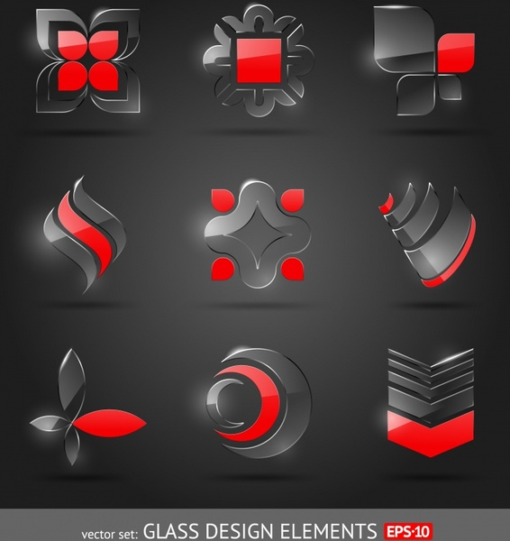 decorative icons shiny glass shapes modern black red