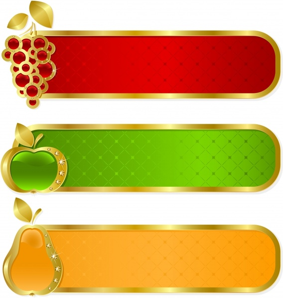 Fruit Tags Templates Sparkling Luxury Horizontal Gems Decor