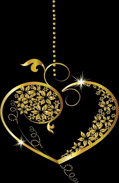 gold pendant template elegant luxury floral curves shape