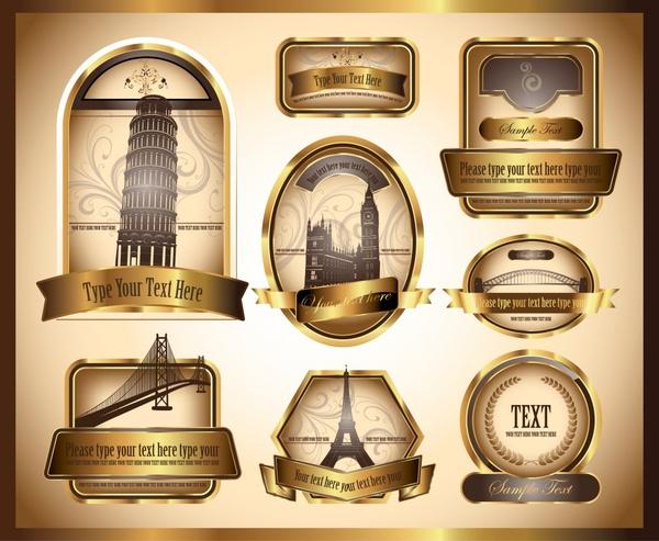 label template landscape decor elegant golden retro design