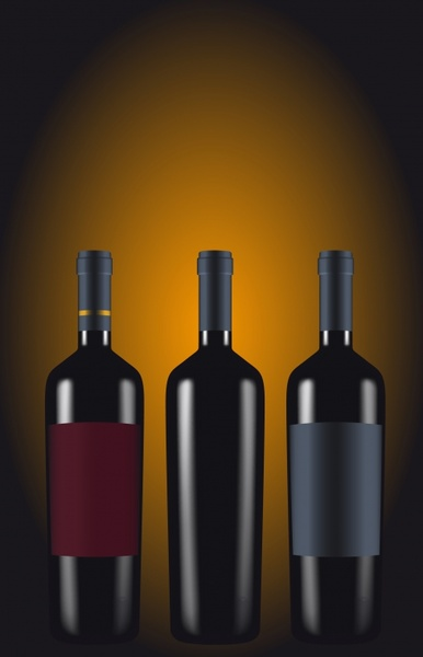 wine advertising background shiny realistic bottles icons