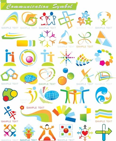 community logotypes colorful abstract shapes decor