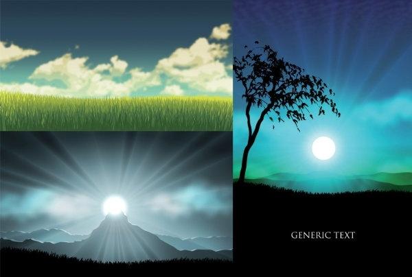 vector grass trees sunset sky
