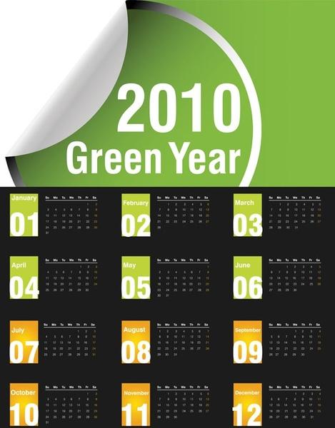 vector green 2010 calendar