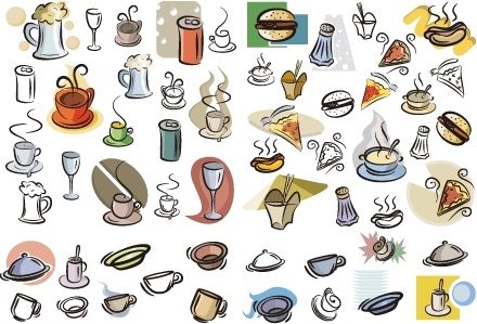 food beverage icons collection colored hand drawn design