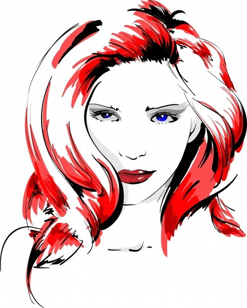 beautiful young lady portrait drawing colored handdrawn sketch