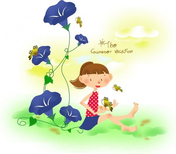 childhood background cute playful girl cartoon sketch