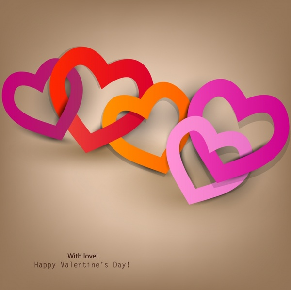 vector happy valentines day heart to heart hollow
