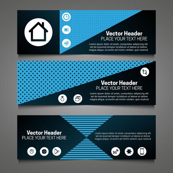 vector header sets with dark background symmetric design