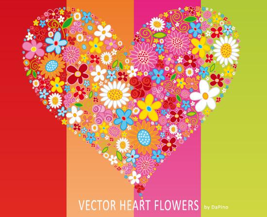 vector heart flowers