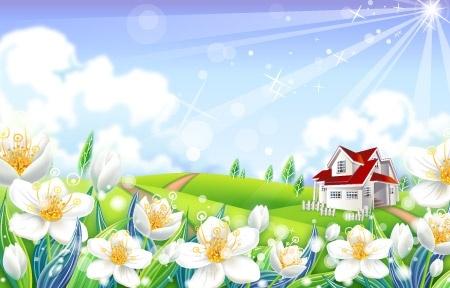 landscape background sparkling sunshine design white flowers decoration