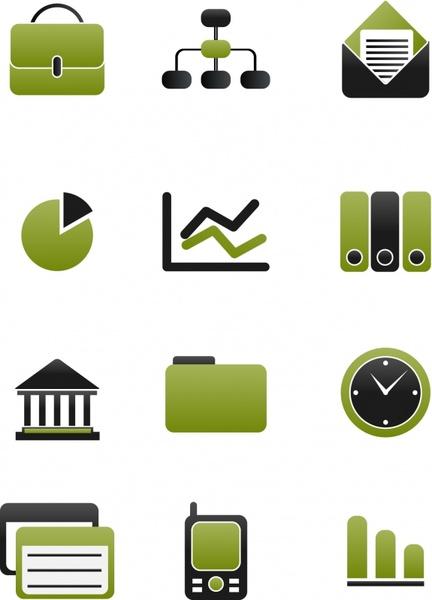 business icons flat green black emblems