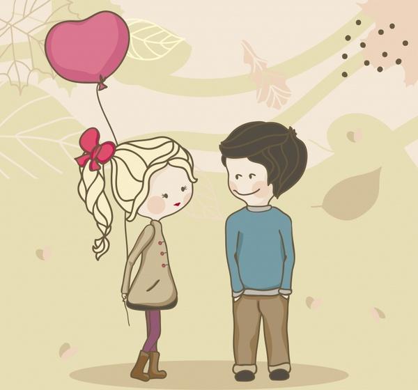 Vector Illustration Cartoon Couple Romance Free Vector In