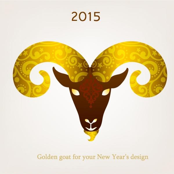 Vector illustration of goat, symbol of 2015.