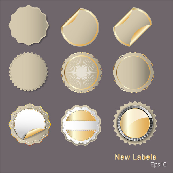 vector illustration of variety shapes of round labels
