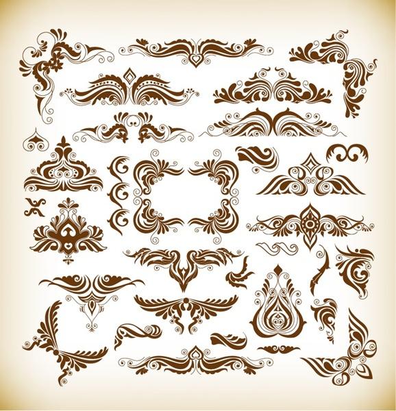Vector Illustration Set Of Elegant Decoration Floral Elements Free