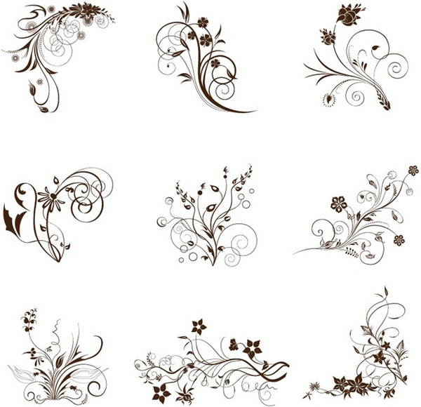 Vector Illustration Set Of Swirling Flourishes Decorative Floral