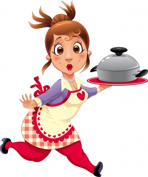 waitress icon funny cartoon character motion design