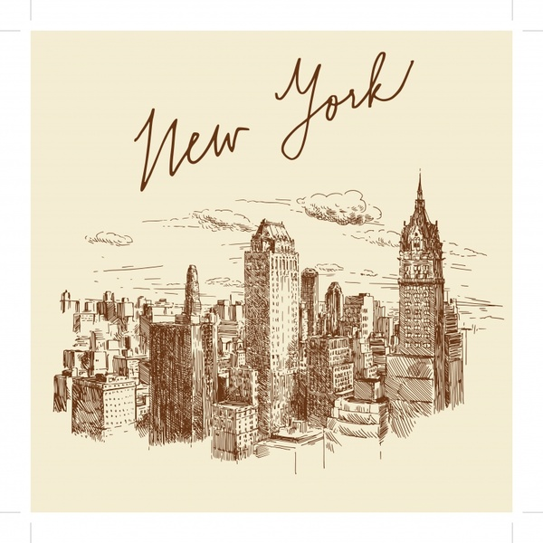 new york city background classical handdrawn sketch