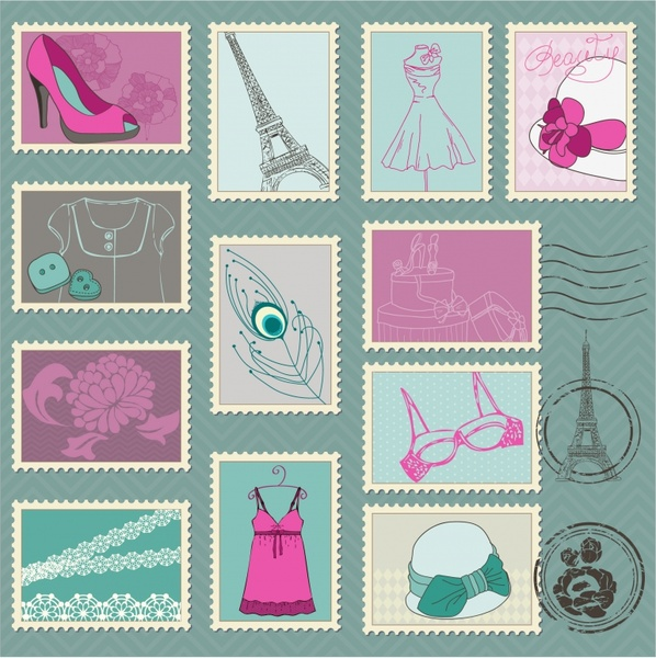 fashion stamps collection classical handdrawn symbols sketch
