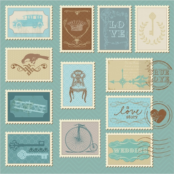 stamps templates collection retro design